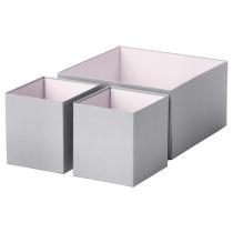 Набор коробок, 3 шт. ХИФС серый артикуль № 502.640.17 в наличии. Интернет каталог IKEA Минск. Быстрая доставка и монтаж.