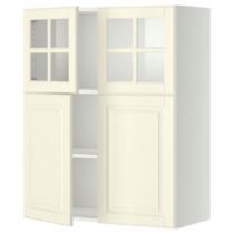 Навесной шкаф, полки, 2 двери, 2 стеклянные дверцы МЕТОД белый артикуль № 299.176.37 в наличии. Онлайн магазин IKEA Минск. Недорогая доставка и монтаж.