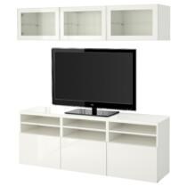 Шкаф для ТВ, комбинированный, стекляные дверцы БЕСТО белый артикуль № 091.965.59 в наличии. Интернет сайт IKEA Минск. Быстрая доставка и установка.