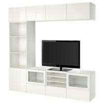 Шкаф для ТВ, комбинированный, стекляные дверцы БЕСТО белый артикуль № 291.967.04 в наличии. Онлайн сайт ИКЕА РБ. Быстрая доставка и установка.