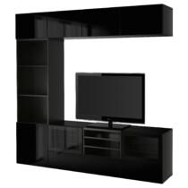Шкаф для ТВ, комбинированный, стекляные дверцы БЕСТО артикуль № 491.967.17 в наличии. Интернет магазин ИКЕА Минск. Быстрая доставка и монтаж.