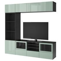 Шкаф для ТВ, комбинированный, стекляные дверцы БЕСТО черно-коричневый артикуль № 692.086.63 в наличии. Онлайн магазин IKEA РБ. Быстрая доставка и установка.