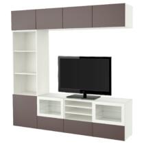 Шкаф для ТВ, комбинированный, стекляные дверцы БЕСТО белый артикуль № 991.966.68 в наличии. Online магазин IKEA Минск. Недорогая доставка и установка.