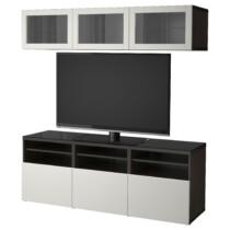Шкаф для ТВ, комбинированный, стекляные дверцы БЕСТО черно-коричневый артикуль № 992.086.33 в наличии. Интернет сайт IKEA РБ. Недорогая доставка и соборка.