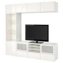 Шкаф для ТВ, комбинированный, стекляные дверцы БЕСТО белый артикуль № 291.948.99 в наличии. Интернет магазин ИКЕА РБ. Недорогая доставка и установка.