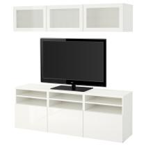 Шкаф для ТВ, комбинированный, стекляные дверцы БЕСТО белый артикуль № 591.945.91 в наличии. Интернет каталог ИКЕА РБ. Недорогая доставка и установка.