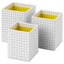 Набор коробок, 3 шт. ХЕЙСАН желтый артикуль № 803.744.58 в наличии. Online сайт IKEA Беларусь. Недорогая доставка и монтаж.